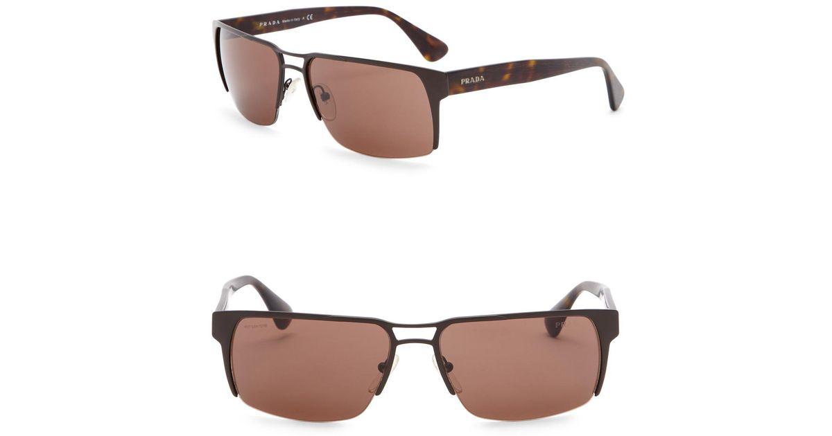 b27bba92e747 Lyst - Prada 60mm Navigator Sunglasses in Brown for Men