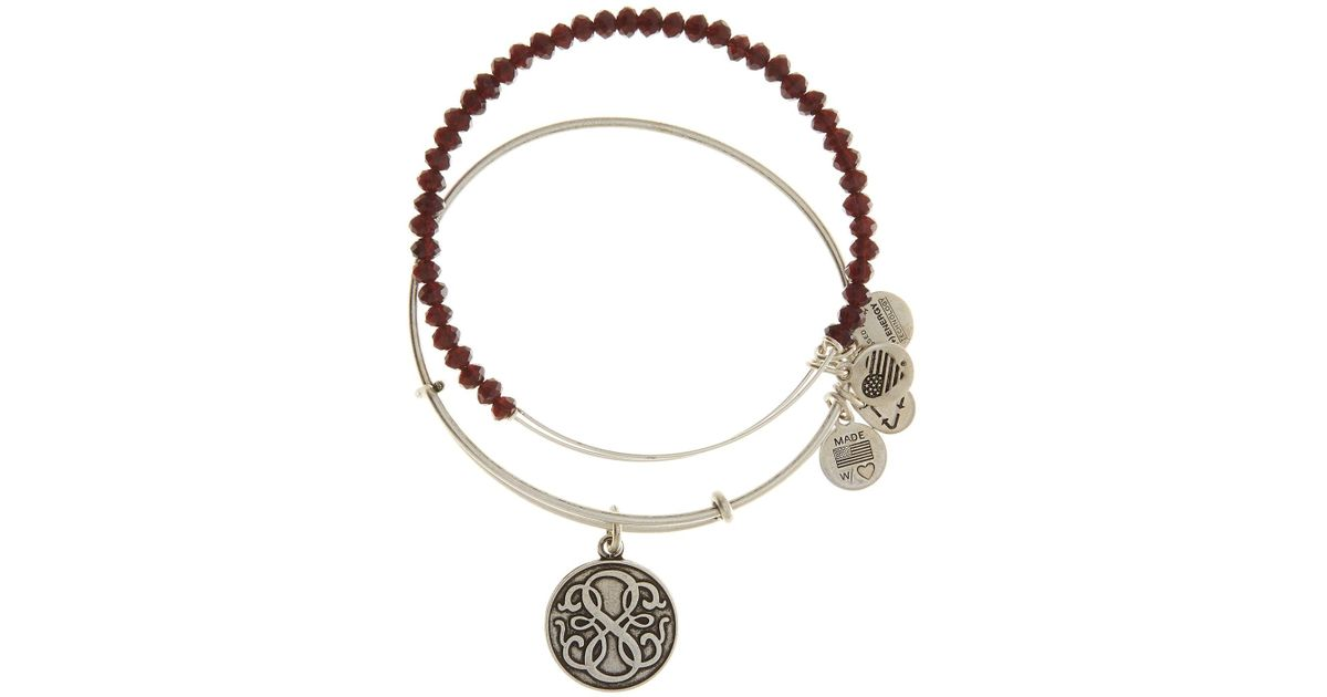 Alex And Ani Red Stardust Beaded Expandable Wire Bangle Set Of 2