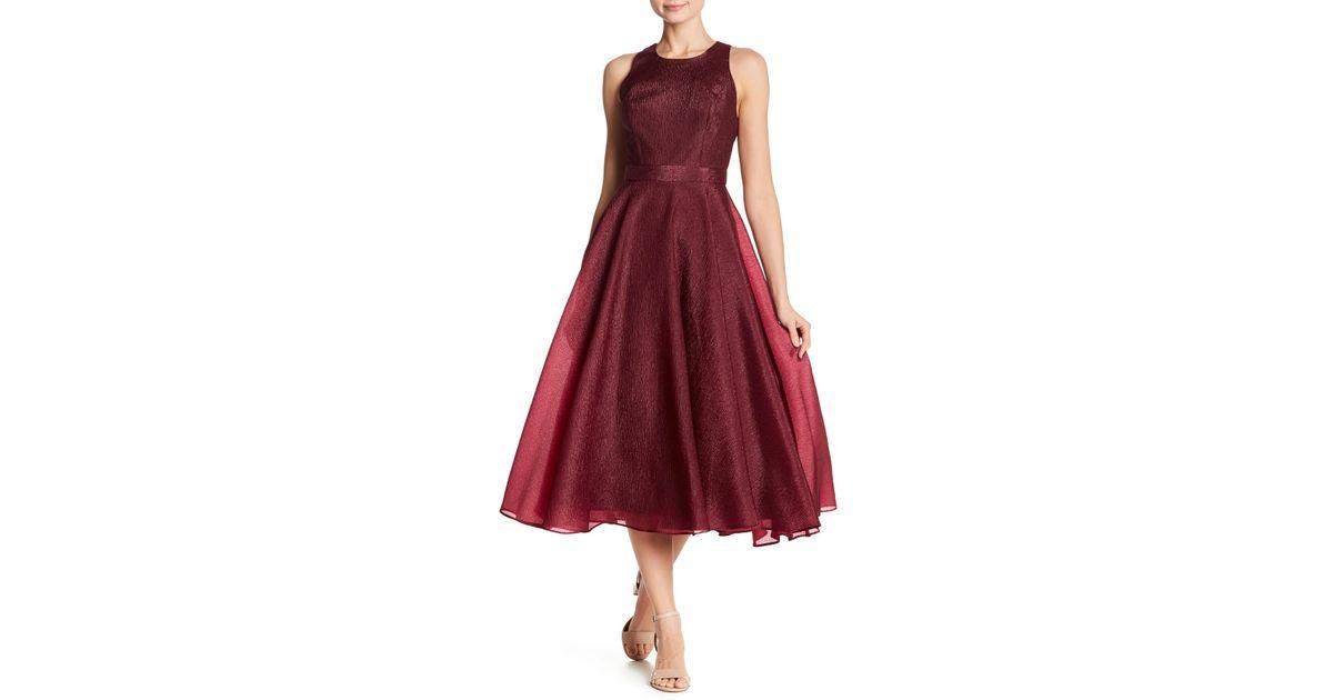 Lyst Nicole Miller Back Zip Solid Dress In Red