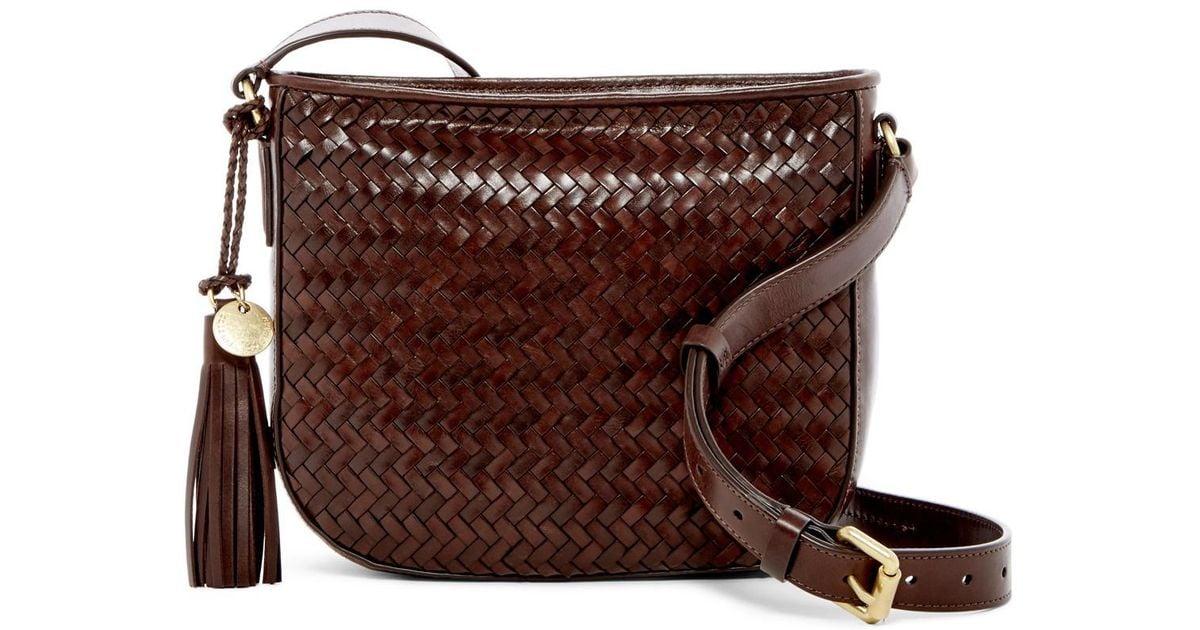 Cole Haan Brown Celia Woven Leather Crossbody Bag