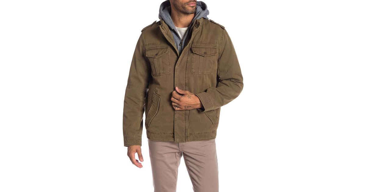 d898eafbd6 Lyst - Levi s Faux Shearling Lined Hooded Military Jacket in Natural for Men