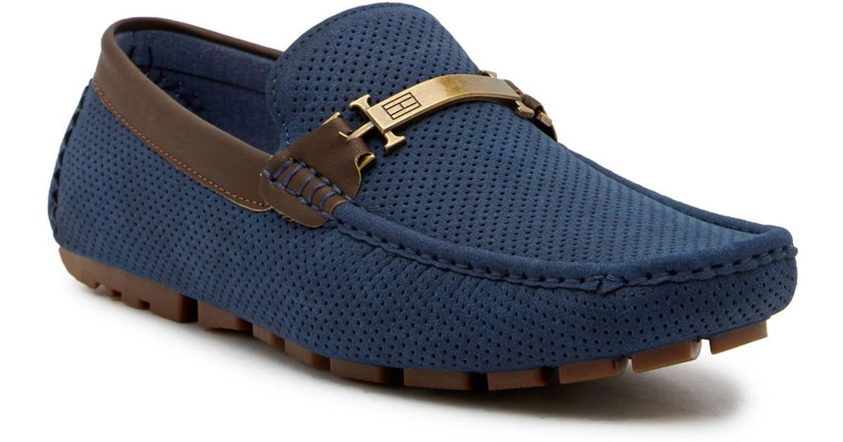 6d9792870eb1e Lyst - Tommy Hilfiger Alvins Perforated Loafer in Blue for Men