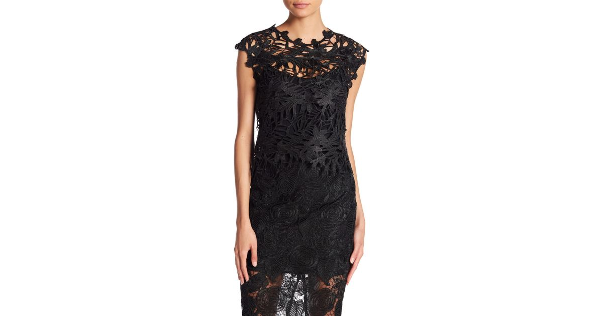 351c7b935bd Lyst - Nicole Bakti Lace Top Overlay in Black