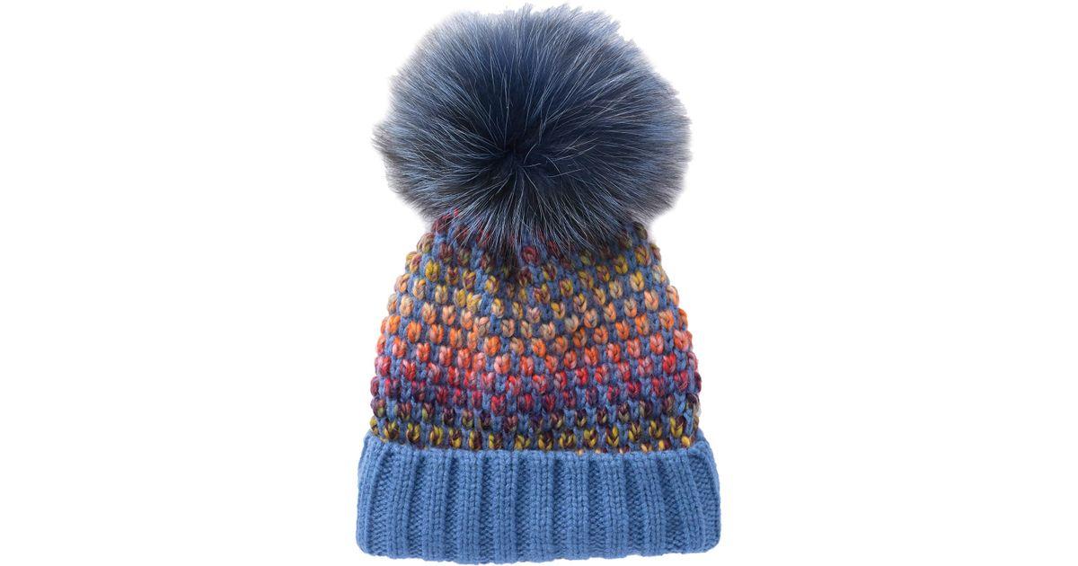d936892cb9428 Lyst - Kyi Kyi Genuine Fox Fur Pompom Multi Knit Beanie in Blue