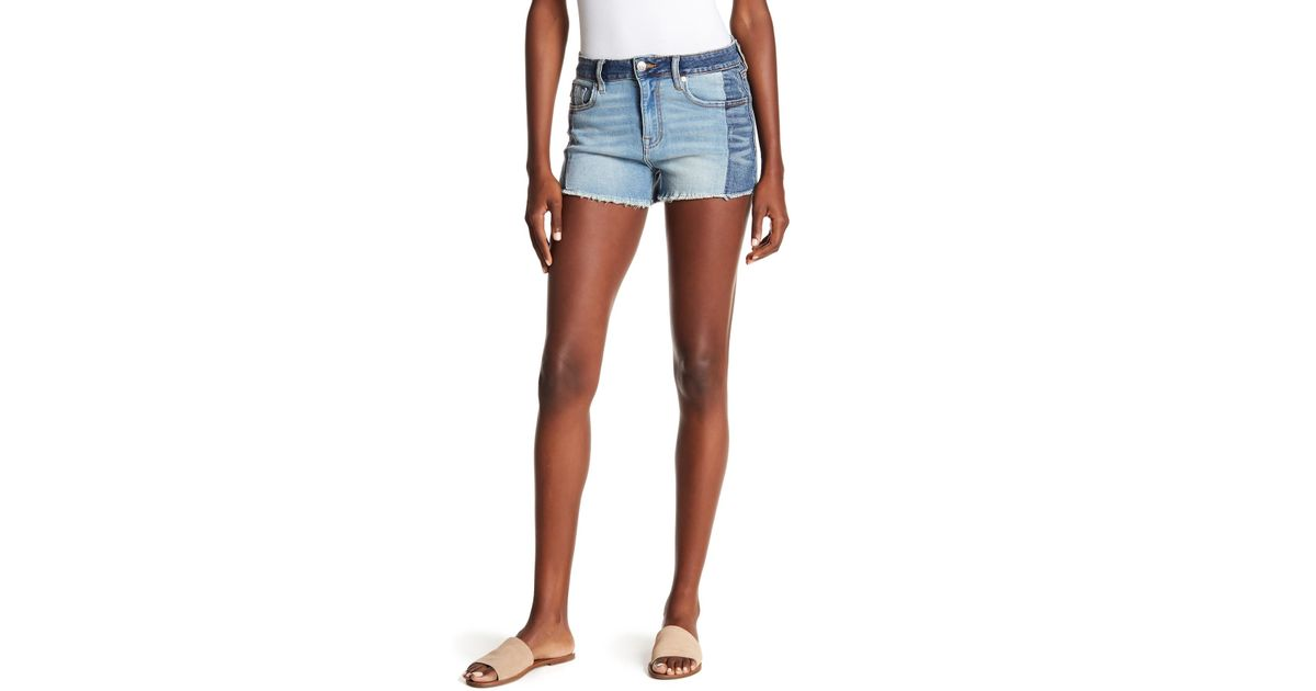 f40bc8f83e Vigoss Colorblock Denim Shorts in Blue - Lyst