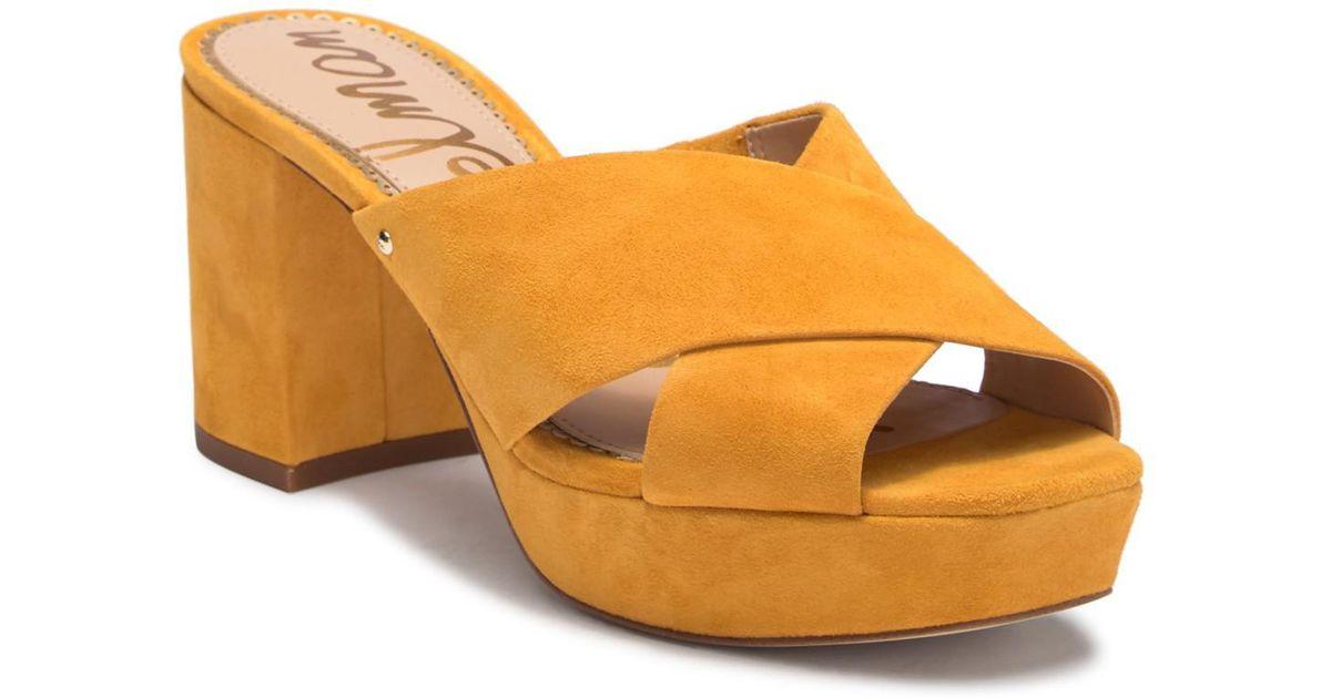5b09c0c212b Lyst - Sam Edelman Jayne Suede Platform Mule Sandal in Yellow