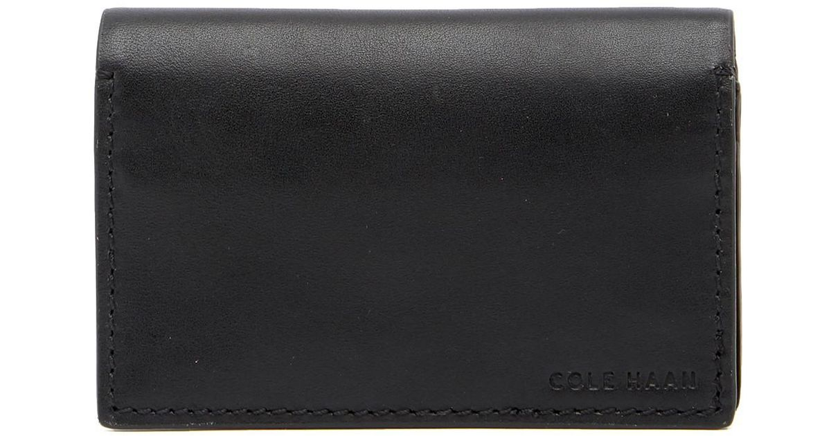 Lyst - Cole Haan Leather Business Card Case in Black