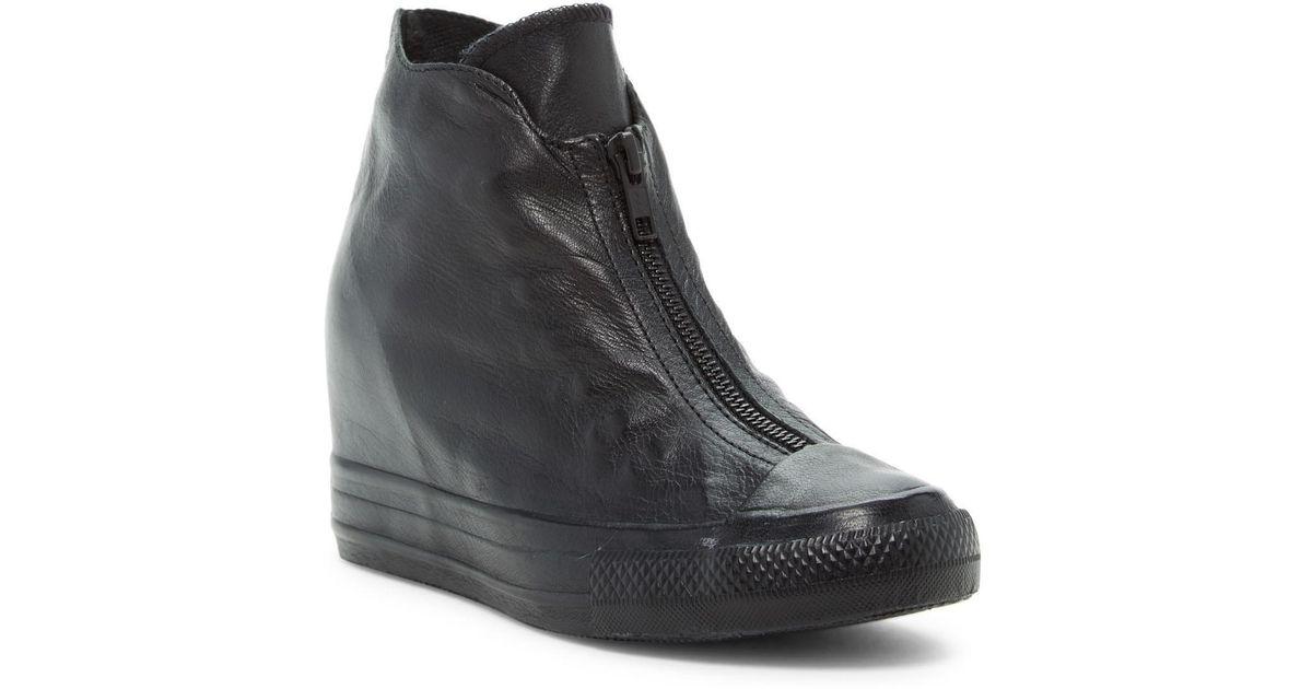 d3e7ea392e98 Lyst - Converse Chuck Taylor(r) All Star(r) Lux Shroud Genuine Leather Hidden  Wedge Bootie (women) in Black