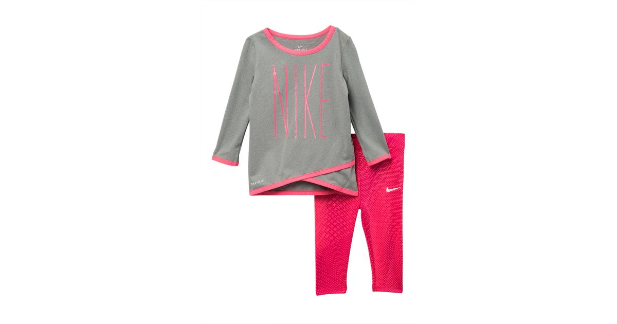 bf1b79e6f Lyst - Nike Dri-fit Crossover Tunic And Leggings Set (baby Girls) in Pink