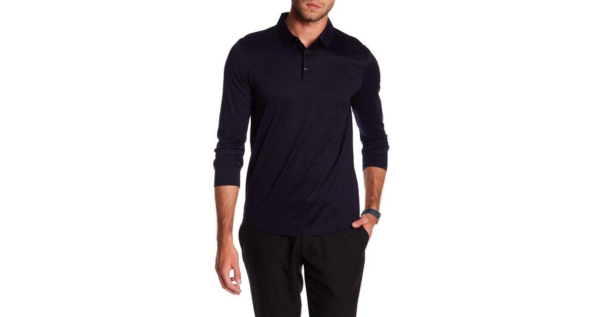 c43ba20d4 Lyst - Boss Demons Long Sleeve Polo Shirt in Blue for Men