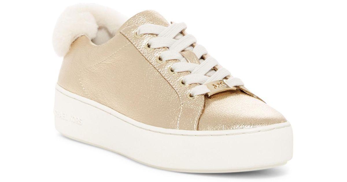 MICHAEL Michael Kors Poppy Genuine Shearling Lace-Up Sneaker PNVDMD