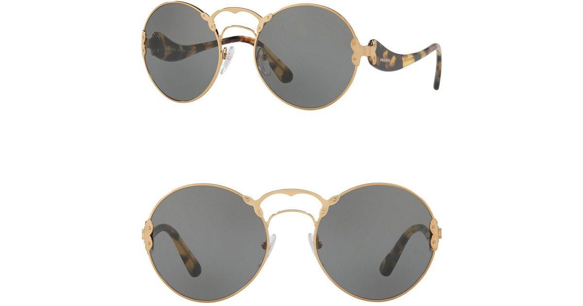 820016eebee Lyst - Prada Round Catwalk 57mm Sunglasses