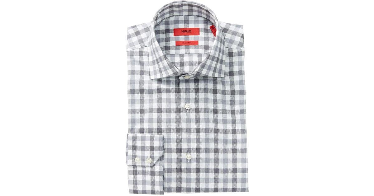 02f4b0b47 BOSS Printed Cotton Dress Shirt in Gray for Men - Save 19% - Lyst