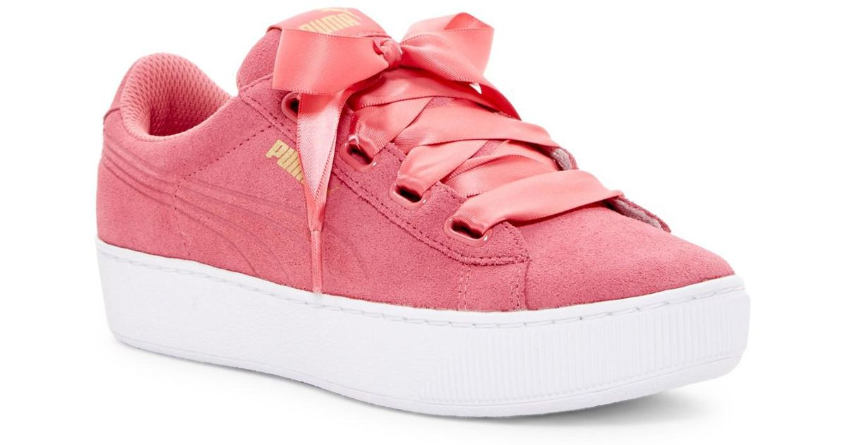 watch low price novel design PUMA Pink Vikky Ribbon Platform Sneaker