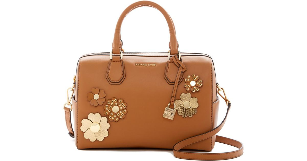Lyst michael michael kors flora applique leather satchel in brown