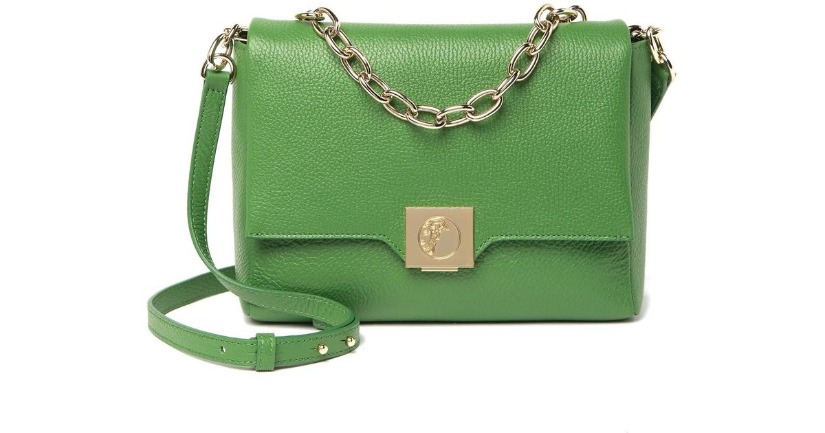 Versace Green Chain Detail Leather Shoulder Bag