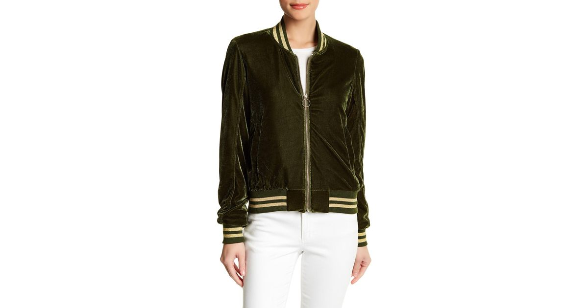 a7fa5111d1aa7 Lyst - Steve Madden Velour Bomber Jacket in Green
