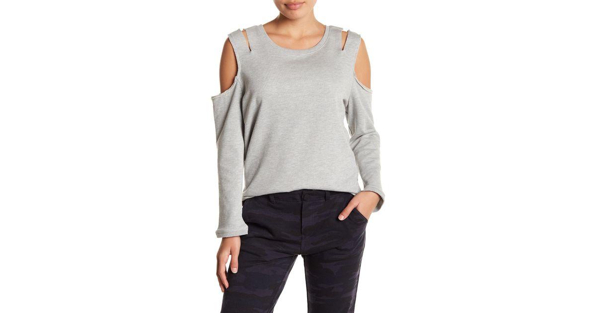8b045e8264127e Lyst - Sanctuary Camo Cold-shoulder Sweatshirt (petite) in Gray