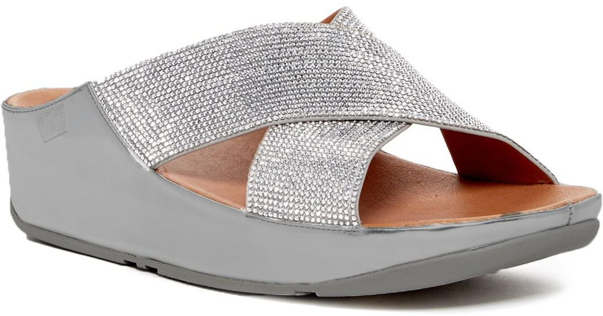 6379c97b0 Lyst - Fitflop Crystal Slide Sandal in Metallic