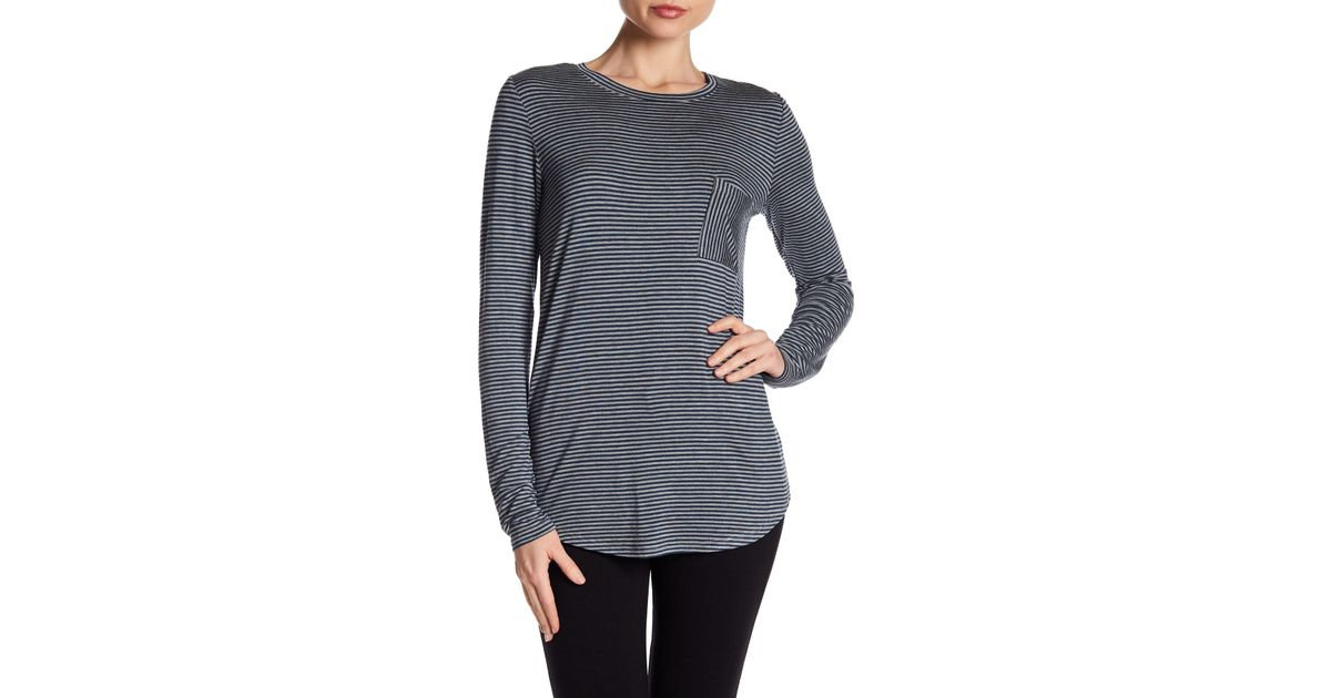 ef0a468a566d8 Lyst - Heather by Bordeaux Striped Long Sleeve Pocket Tee Shirt in Gray