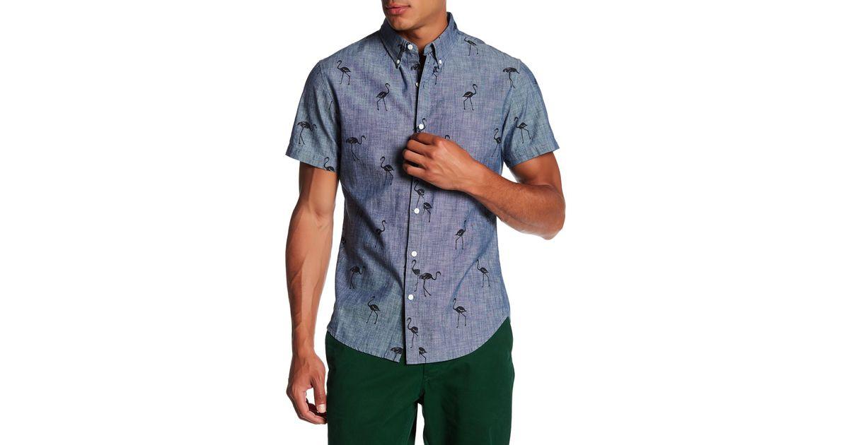 68afe388 Bonobos Riviera Short Sleeve Flamingo Print Slim Fit Shirt in Blue for Men  - Lyst