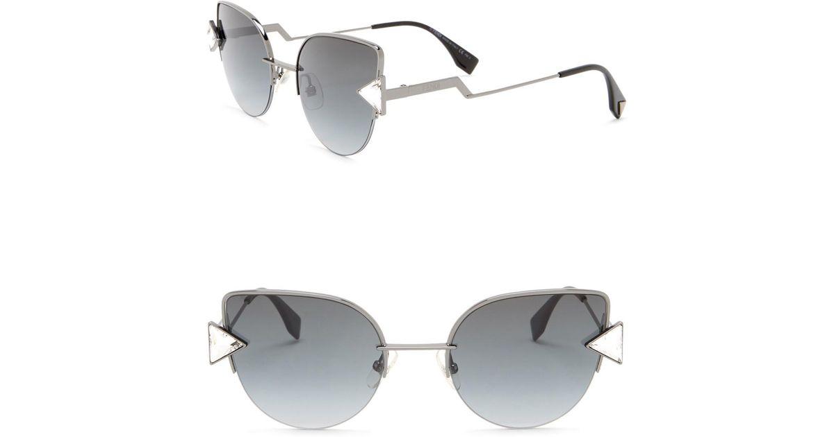 c2e46c42f617a Fendi Modified Oval 52mm Sunglasses in Metallic - Lyst