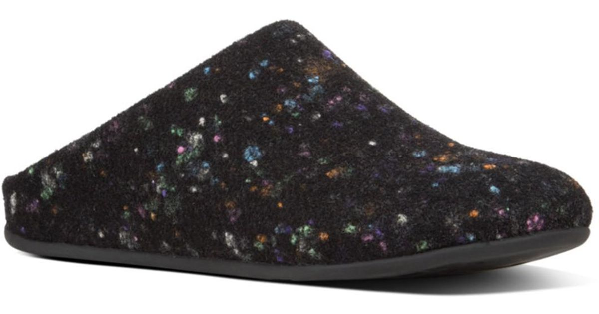 ced800c91eb1 Lyst - Fitflop Chrissie Speckle Felt Slippers in Black