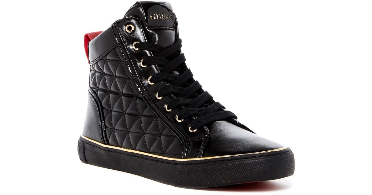 Guess Leather Melo Sneaker in Black for