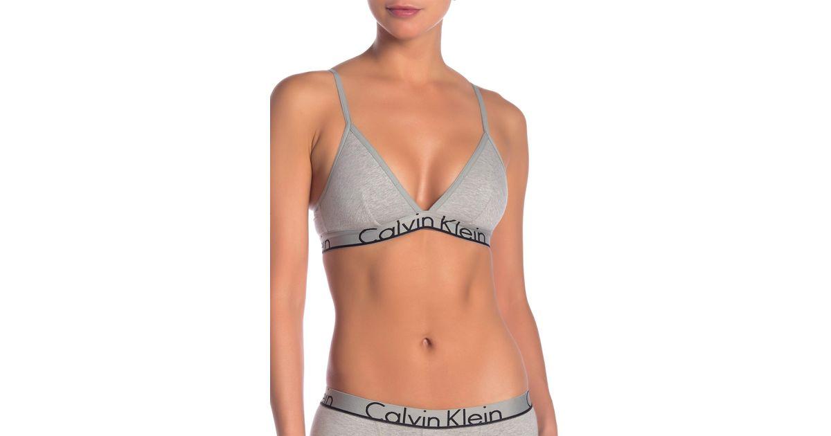 27041f6b17 Lyst - Calvin Klein Triangle Logo Bralette in Gray