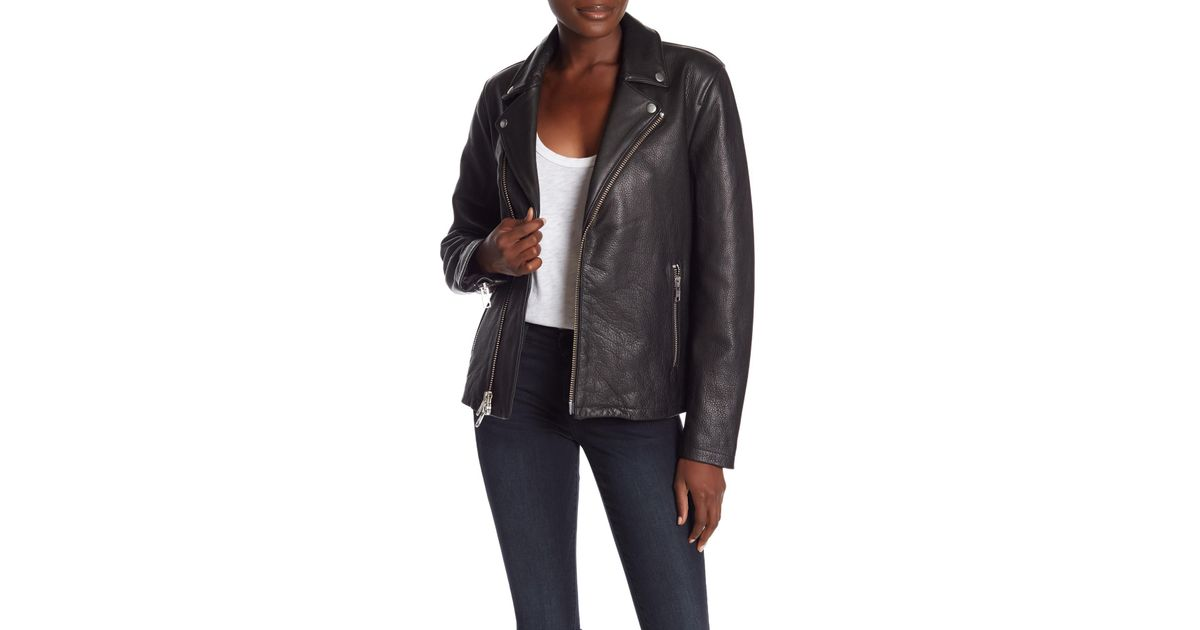 b3ca4c92a FRAME - Black Oversized Leather Moto Jacket - Lyst