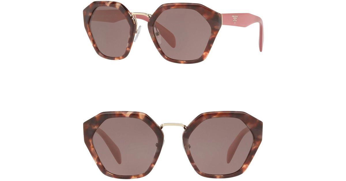 6573687eb76 france lyst prada irregular heritage 55mm sunglasses in brown fc200 74856
