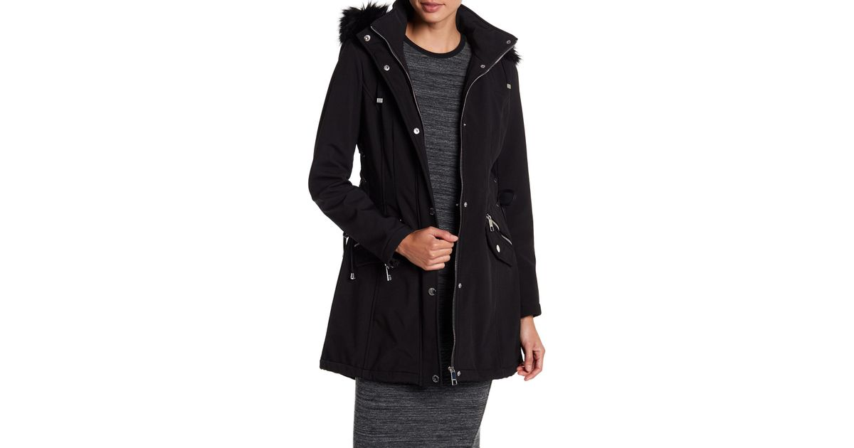 Guess Side Lace-up Faux Fur Trim Hooded Jacket in Black - Lyst