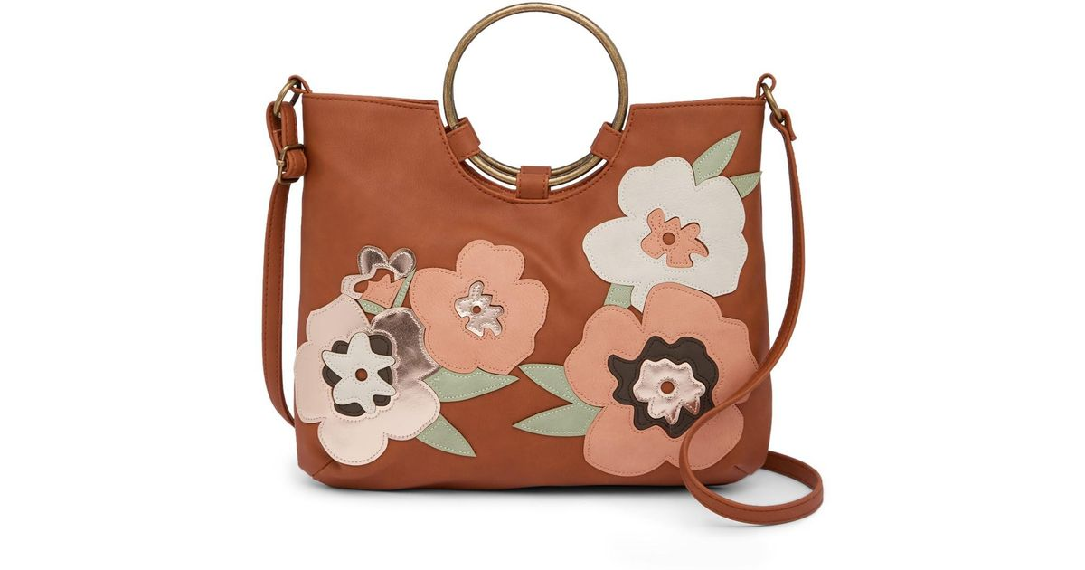 3062c09c5859 Lyst - T-Shirt   Jeans Flower Applique Ring Crossbody Bag in Brown