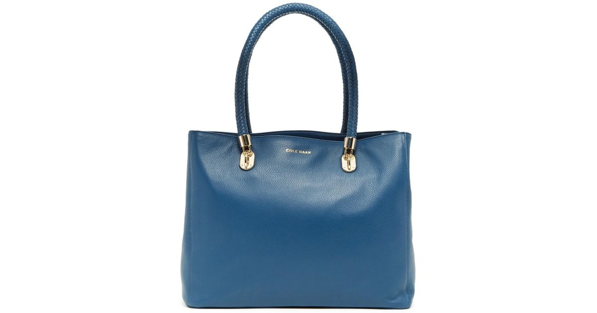 42d77b43f5b Lyst - Cole Haan Benson Large Leather Tote in Blue
