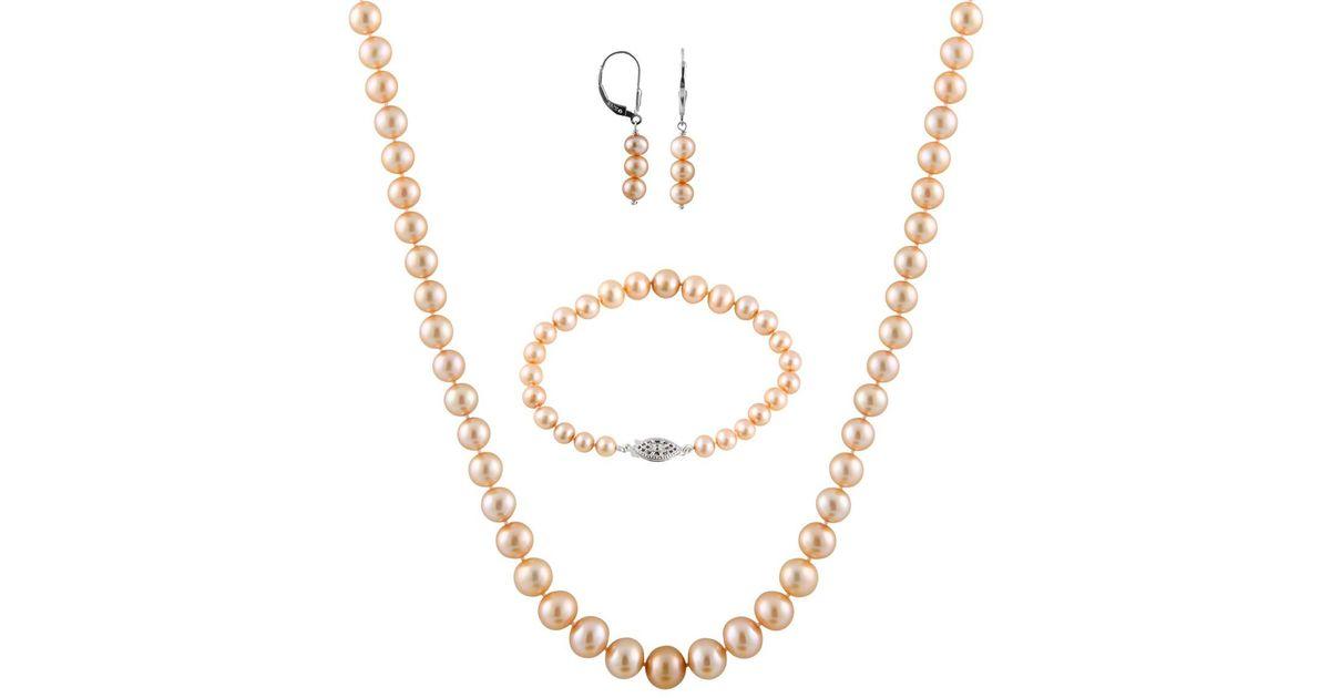 Lyst Splendid 5 9mm Freshwater Pearl Necklace Bracelet And Dangle Earrings Set In Metallic
