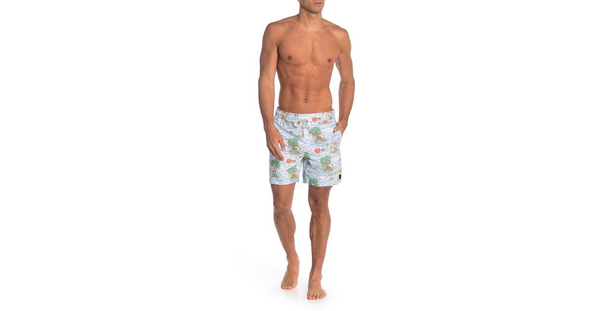 699c0fbd3a RVCA Montague Tropical Swim Trunks in Blue for Men - Lyst