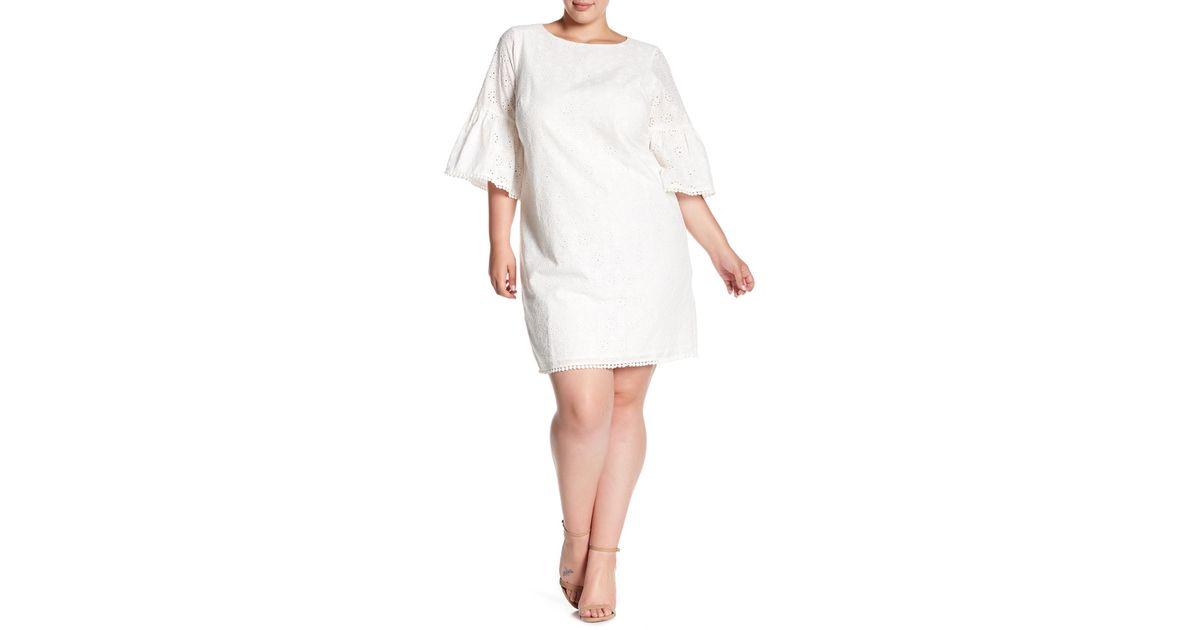 Eliza J White Bell Sleeve Eyelet Dress (plus Size)