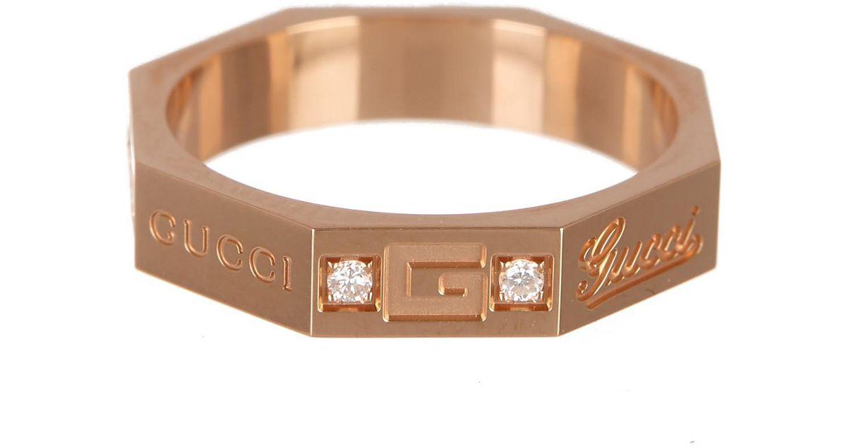 22ca1f822 Gucci 18k Rose Gold Otto Diamond Hex Ring - Size 4 - Lyst
