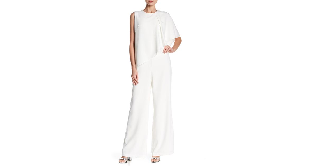 6128317ff3d Lyst - Gracia Layered Wide Leg Jumpsuit in White