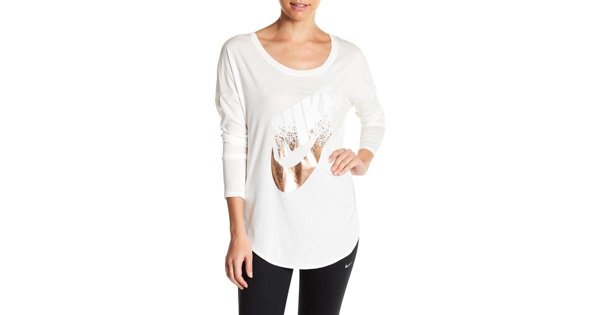 Nike Signal Metallic Long Sleeve Women White, Brown