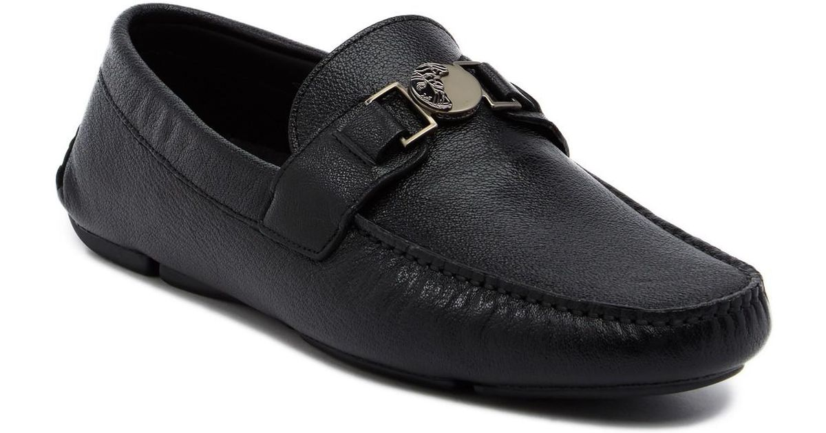 Versace Leather Buckle Driver Loafer in