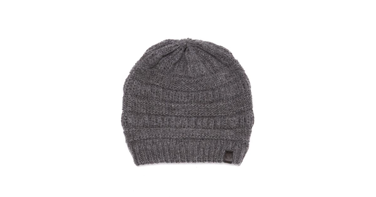 985f2a189b87f Lyst - True Religion Chunky Ribbed Knit Beanie in Gray for Men