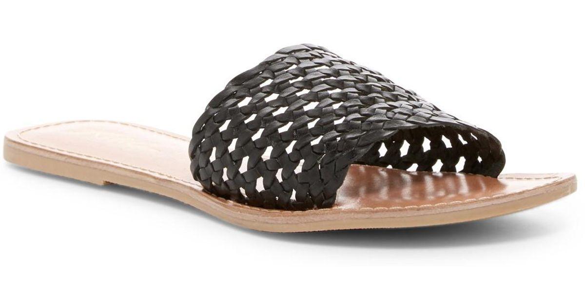 62285cc6a82e Lyst - Rebels Bettina Leather Lattice Slide Sandal in Black