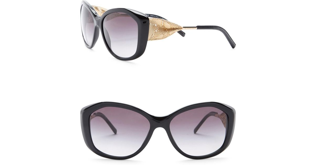 0dabdafda033 Burberry Women's 57mm Oversized Sunglasses in Black - Lyst
