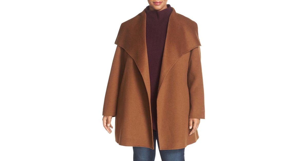 b5b1727618289 Lyst - T Tahari  ella  Wrap Coat (plus Size) in Brown