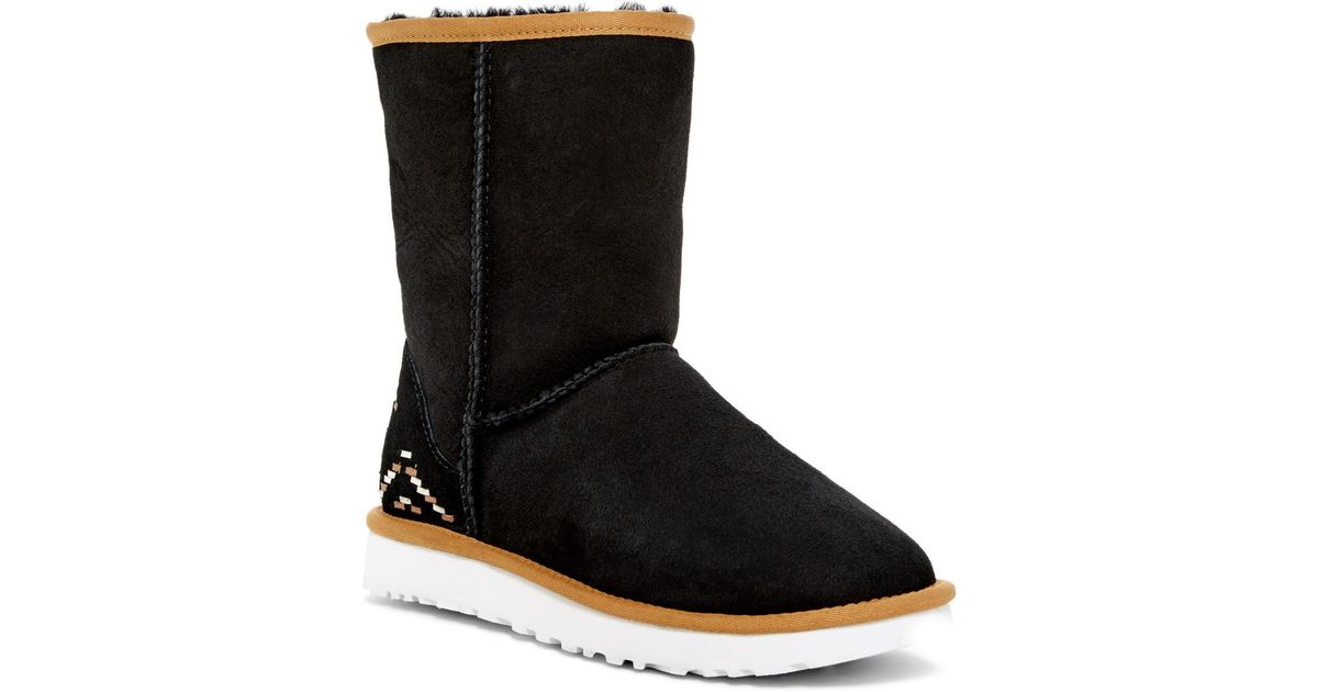 d1cf37d2db0 Ugg Black Australia Classic Short Genuine Shearling Lined - Rustic Weave  Boot