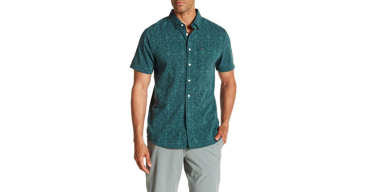 65863258cbcb Lyst - Volcom Geo Print Short Sleeve Modern Fit Woven Shirt in Green for Men