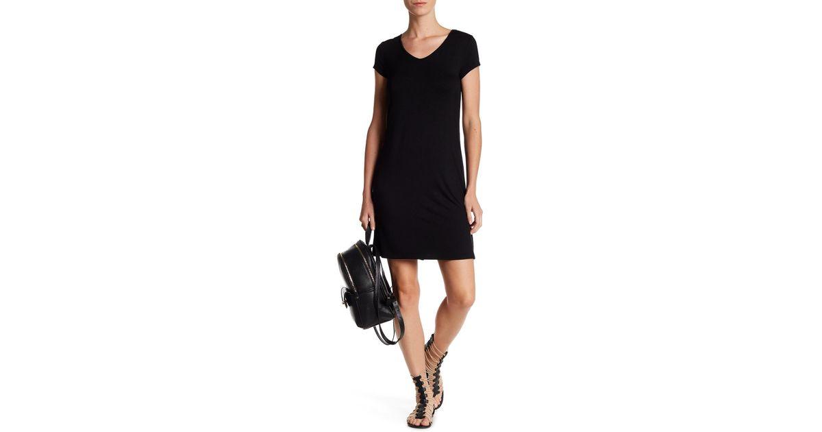 Lyst Cable Gauge V Neck Lace Up Dress In Black