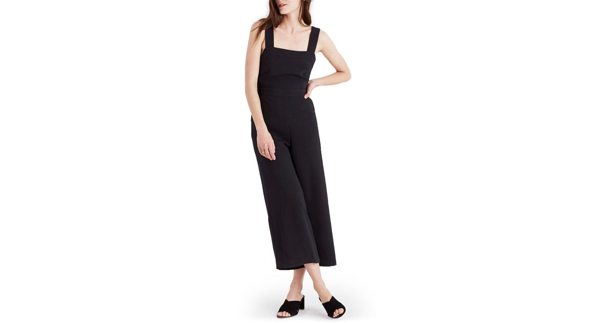 Madewell Apron Bow Back Jumpsuit In Black Save 6144578313253012