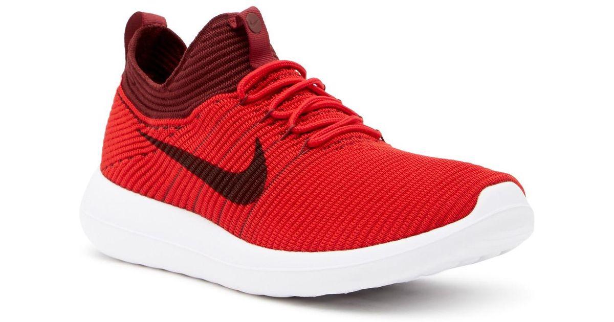 buy popular b4adb bef24 Nike - Red Roshe Two Flyknit V2 Sneaker for Men - Lyst
